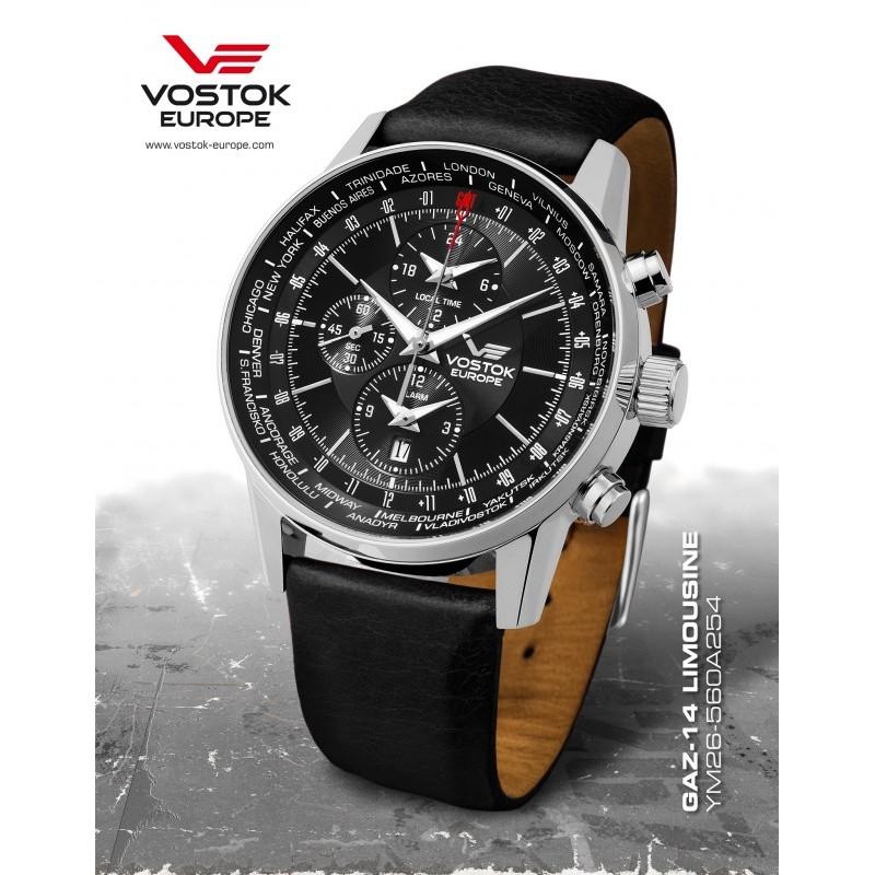 Pánske hodinky Vostok - Europe GAZ-14 world timer/alarm line YM26/560A254