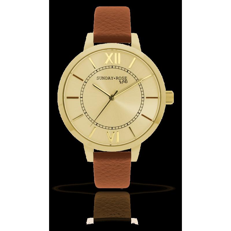 Dámske hodinky SUNDAY ROSE Classic GOLDEN BROWN SUN-C03