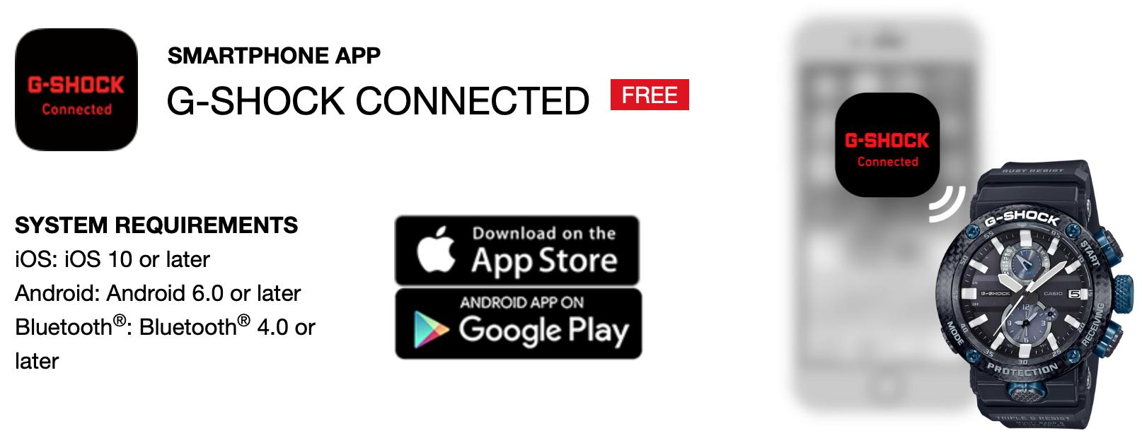 Aplikácia pre Casio G-Shock Bluetooth®